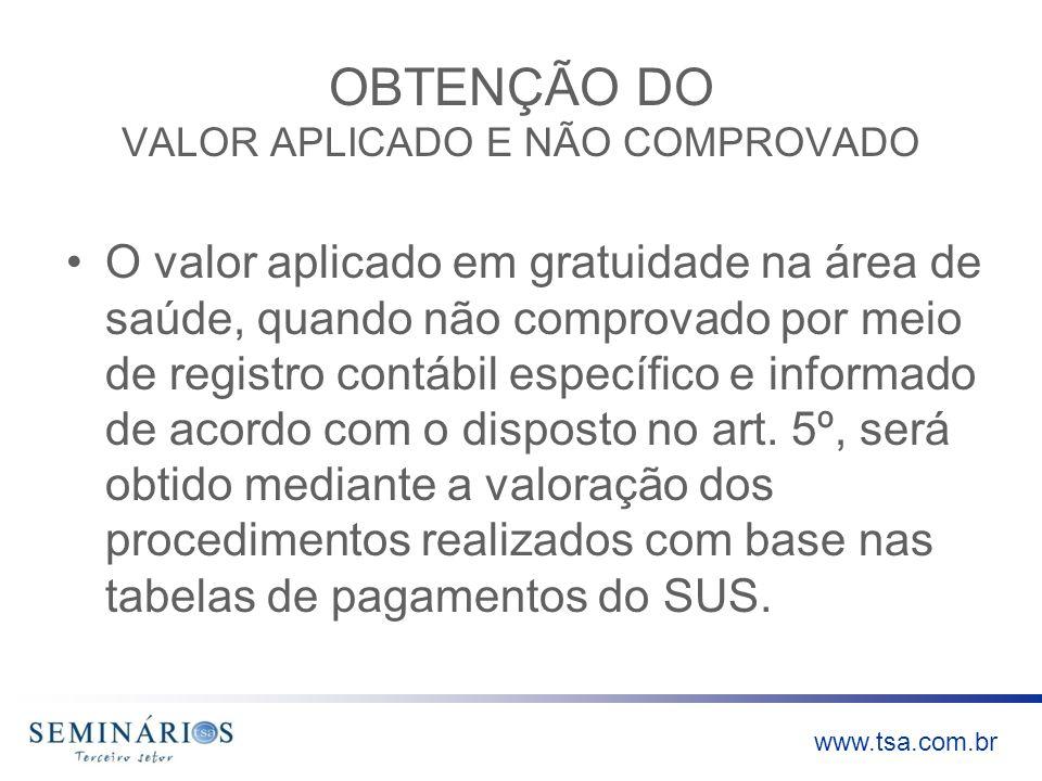 www.tsa.com.br OBTENÇÃO DO VALOR APLICADO E NÃO COMPROVADO O valor aplicado em gratuidade na área de saúde, quando não comprovado por meio de registro