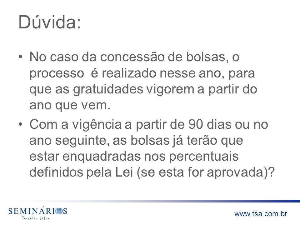 www.tsa.com.br Dúvida: No caso da concessão de bolsas, o processo é realizado nesse ano, para que as gratuidades vigorem a partir do ano que vem. Com
