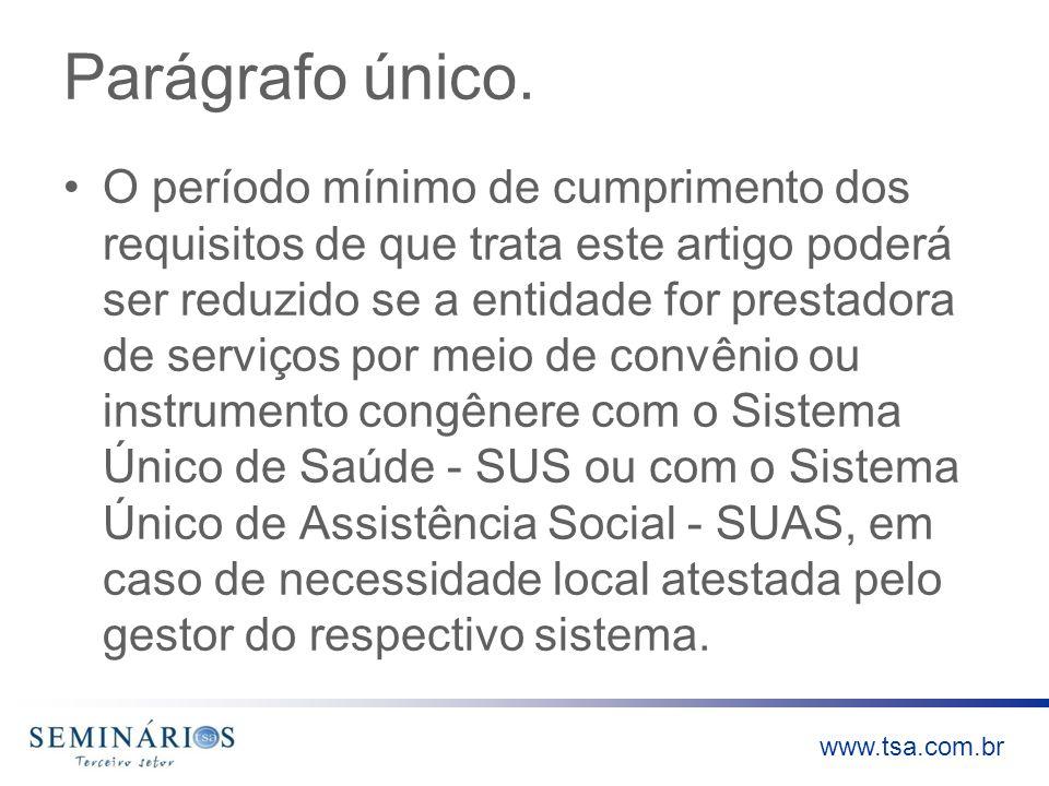 www.tsa.com.br Índices de 5%, 10% ou 20% da receita bruta que a entidade deve aplicar em serviços gratuitos de saúde se não houver demanda que justifique a oferta de serviços no âmbito do SUS no montante de 60%.
