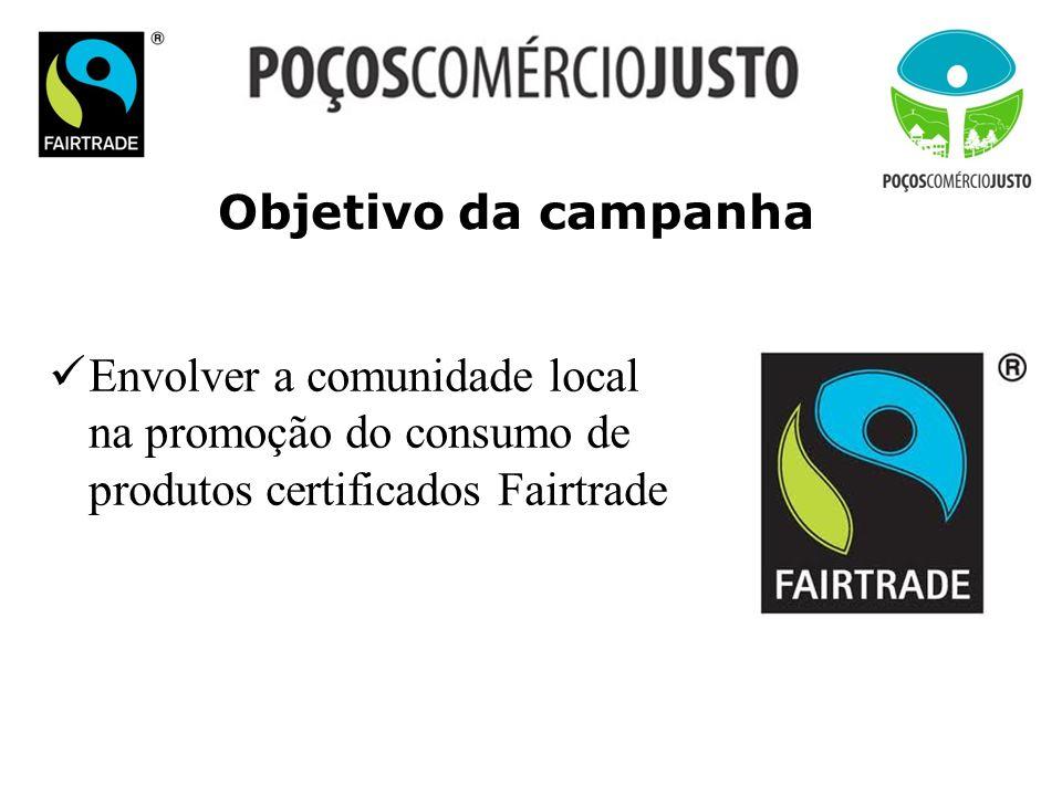 Objetivo da campanha Envolver a comunidade local na promoção do consumo de produtos certificados Fairtrade