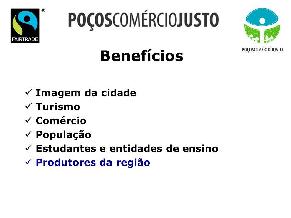 Benefícios Imagem da cidade Turismo Comércio População Estudantes e entidades de ensino Produtores da região
