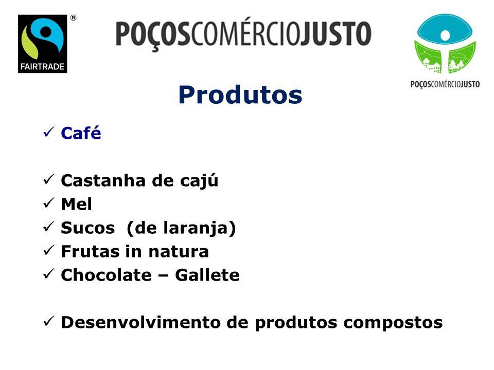Produtos Café Castanha de cajú Mel Sucos (de laranja) Frutas in natura Chocolate – Gallete Desenvolvimento de produtos compostos