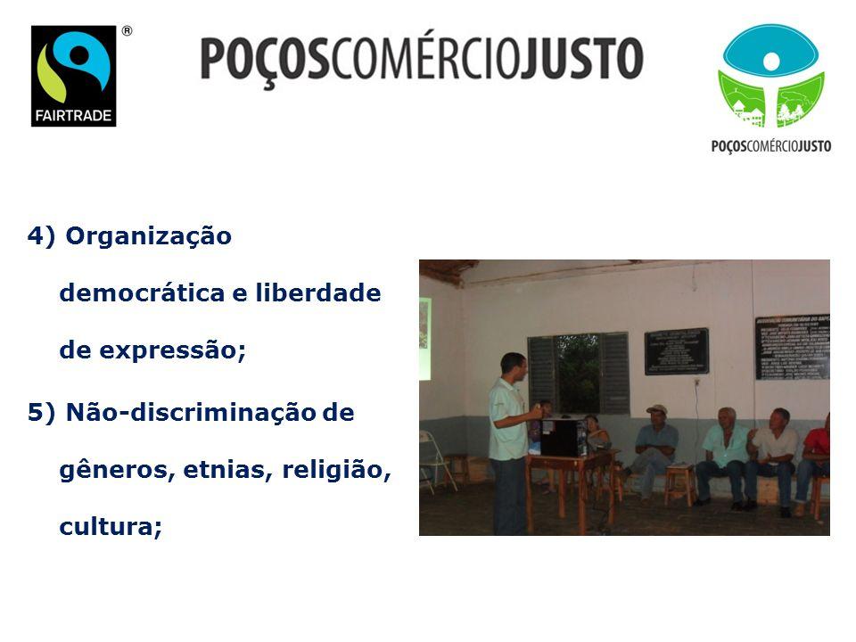 4) Organização democrática e liberdade de expressão; 5) Não-discriminação de gêneros, etnias, religião, cultura;