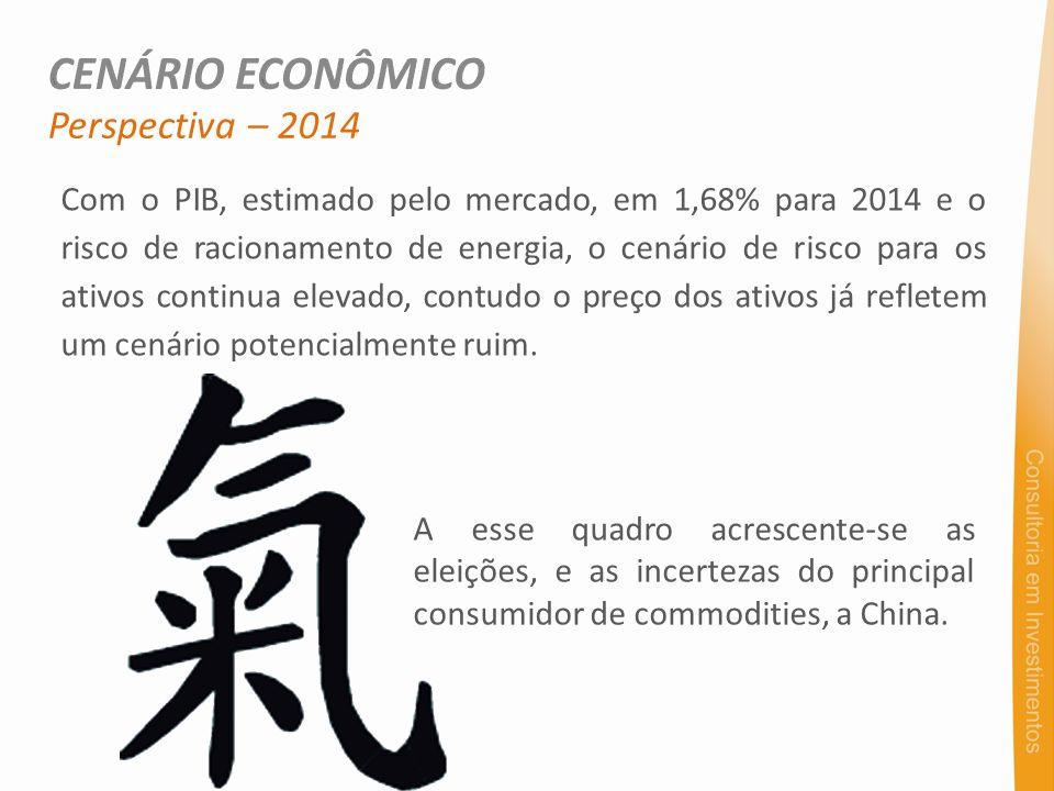 Com o PIB, estimado pelo mercado, em 1,68% para 2014 e o risco de racionamento de energia, o cenário de risco para os ativos continua elevado, contudo