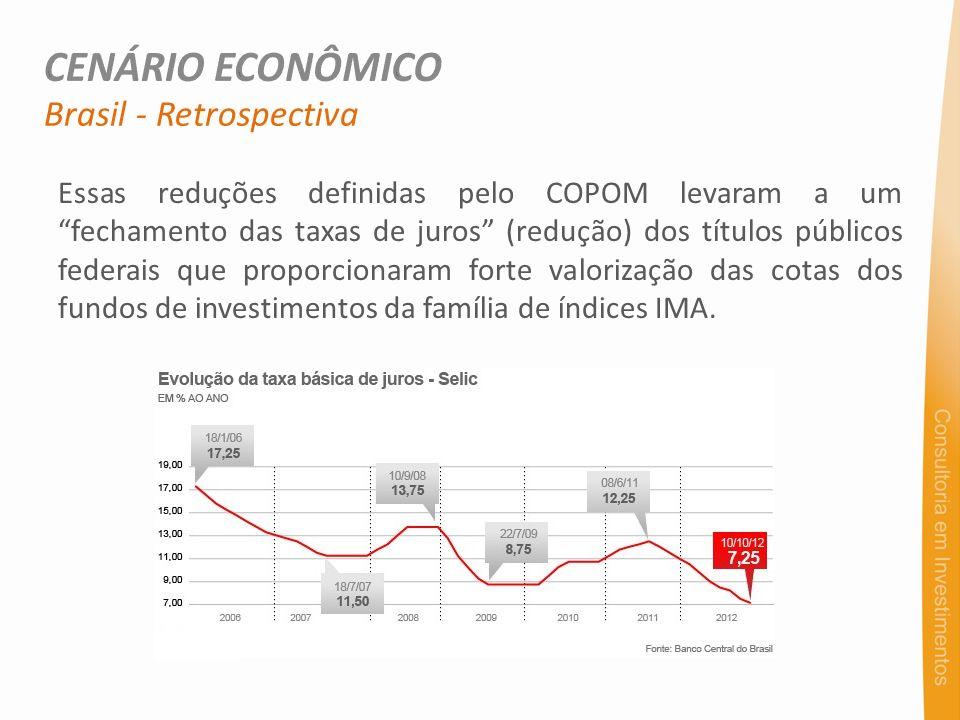Essas reduções definidas pelo COPOM levaram a um fechamento das taxas de juros (redução) dos títulos públicos federais que proporcionaram forte valorização das cotas dos fundos de investimentos da família de índices IMA.