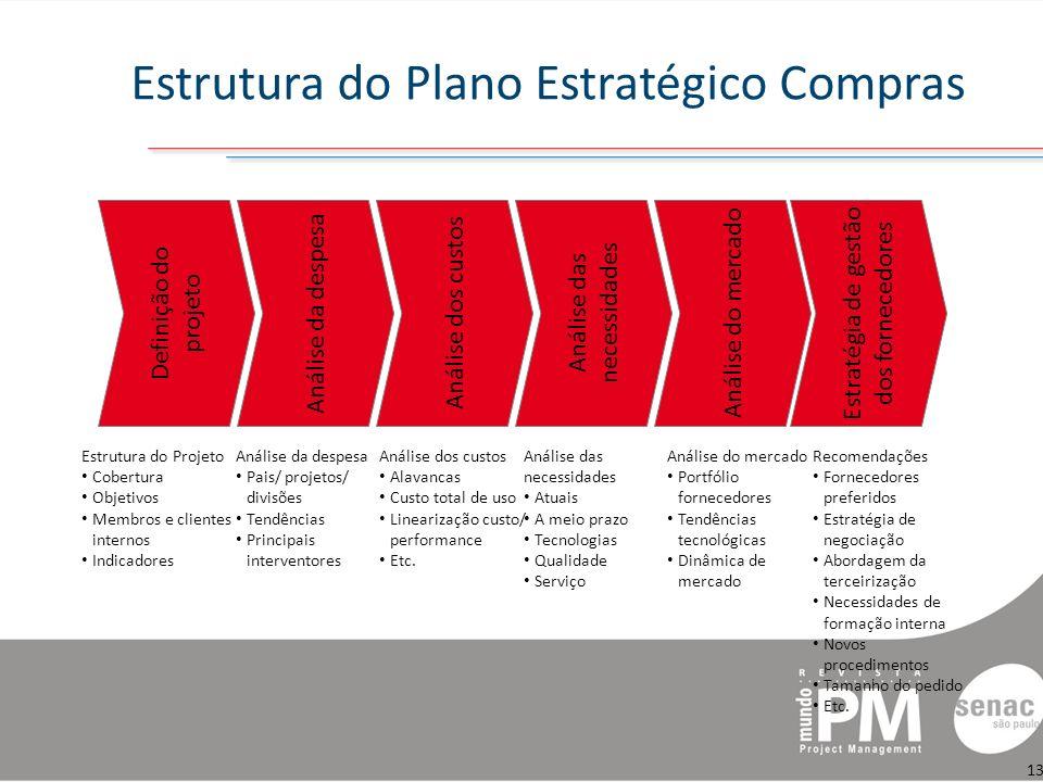 Estrutura do Plano Estratégico Compras Análise da despesa Pais/ projetos/ divisões Tendências Principais interventores Análise dos custos Alavancas Custo total de uso Linearização custo/ performance Etc.
