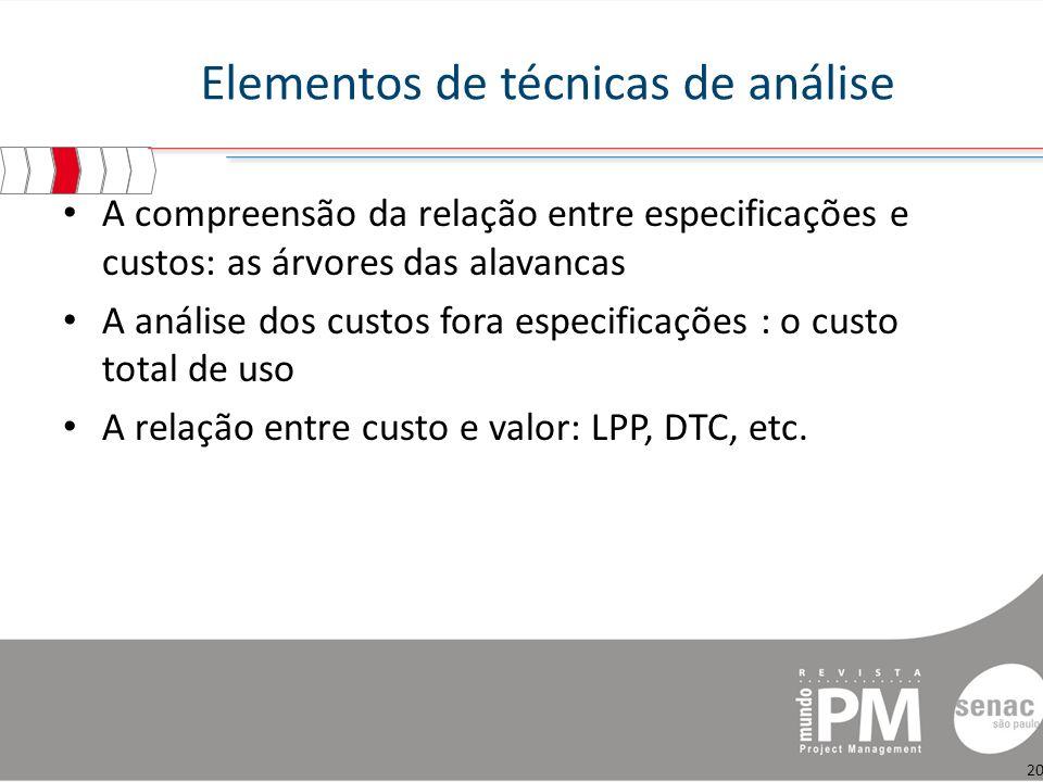 Elementos de técnicas de análise A compreensão da relação entre especificações e custos: as árvores das alavancas A análise dos custos fora especificações : o custo total de uso A relação entre custo e valor: LPP, DTC, etc.