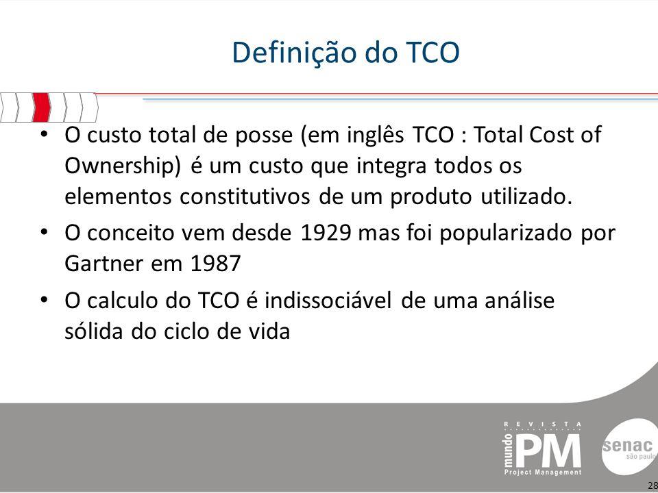 Definição do TCO O custo total de posse (em inglês TCO : Total Cost of Ownership) é um custo que integra todos os elementos constitutivos de um produto utilizado.