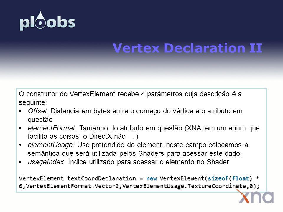 Page 21 Vertex Declaration II O construtor do VertexElement recebe 4 parâmetros cuja descrição é a seguinte: Offset: Distancia em bytes entre o começo