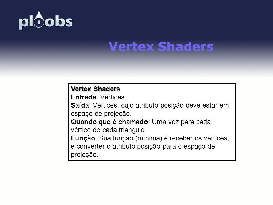 Page 31 Vertex Shaders Entrada: Vértices Saída: Vértices, cujo atributo posição deve estar em espaço de projeção. Quando que é chamado: Uma vez para c