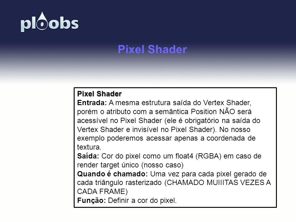 Page 34 Pixel Shader Entrada: A mesma estrutura saída do Vertex Shader, porém o atributo com a semântica Position NÃO será acessível no Pixel Shader (