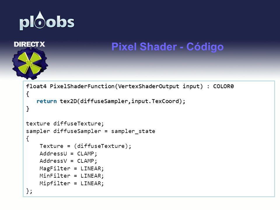 Page 35 Pixel Shader - Código float4 PixelShaderFunction(VertexShaderOutput input) : COLOR0 { return tex2D(diffuseSampler,input.TexCoord); return tex2