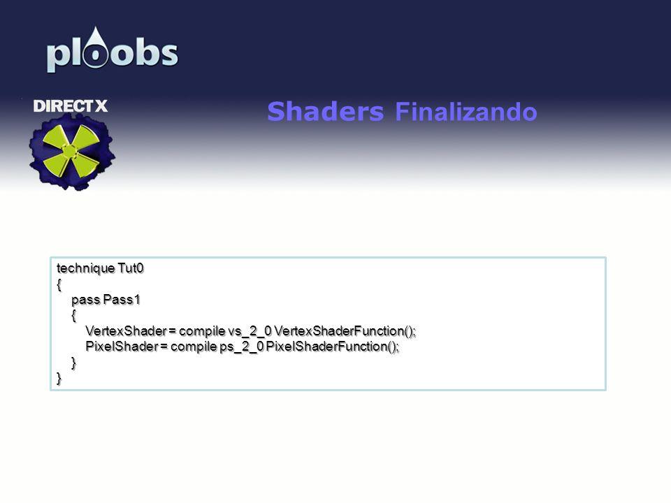 Page 37 Shaders Finalizando technique Tut0 { pass Pass1 pass Pass1 { VertexShader = compile vs_2_0 VertexShaderFunction(); VertexShader = compile vs_2