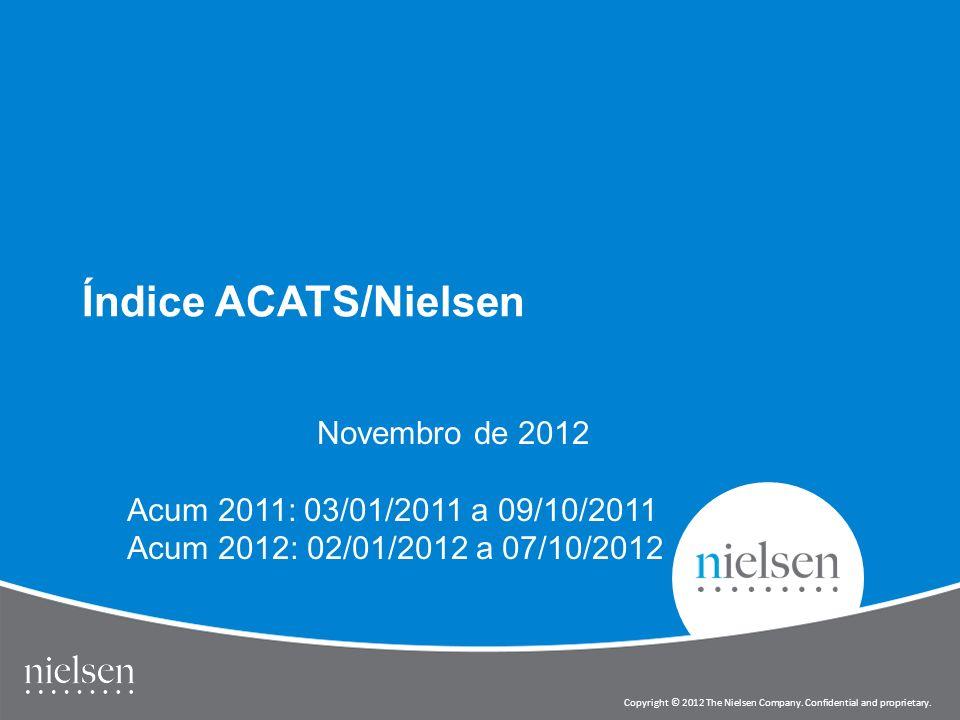 1 Copyright © 2012 The Nielsen Company. Confidential and proprietary. Índice ACATS/Nielsen Novembro de 2012 Acum 2011: 03/01/2011 a 09/10/2011 Acum 20