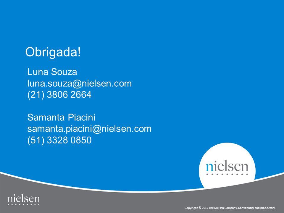 12 Copyright © 2012 The Nielsen Company. Confidential and proprietary. Obrigada! Luna Souza luna.souza@nielsen.com (21) 3806 2664 Samanta Piacini sama