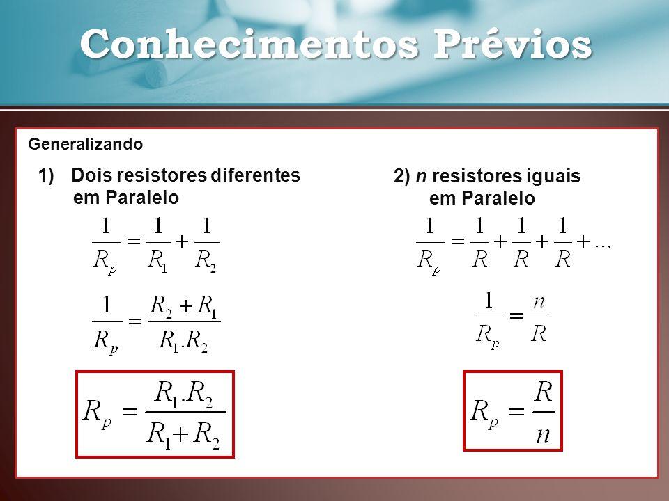 Conhecimentos Prévios Conhecimentos Prévios 1)Dois resistores diferentes em Paralelo 2) n resistores iguais em Paralelo Generalizando