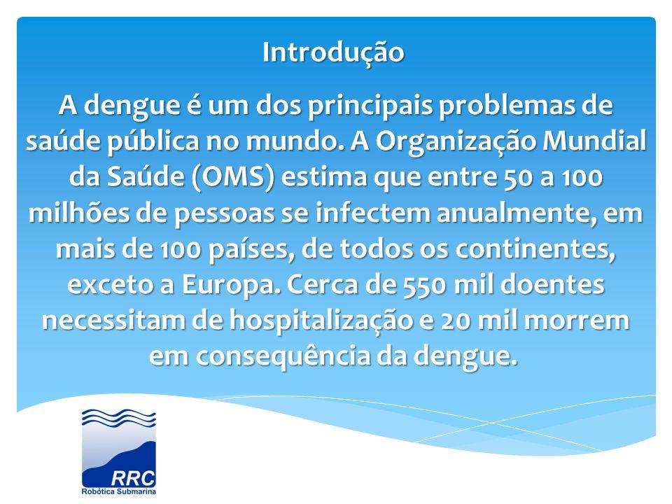 Introdução A dengue é um dos principais problemas de saúde pública no mundo. A Organização Mundial da Saúde (OMS) estima que entre 50 a 100 milhões de