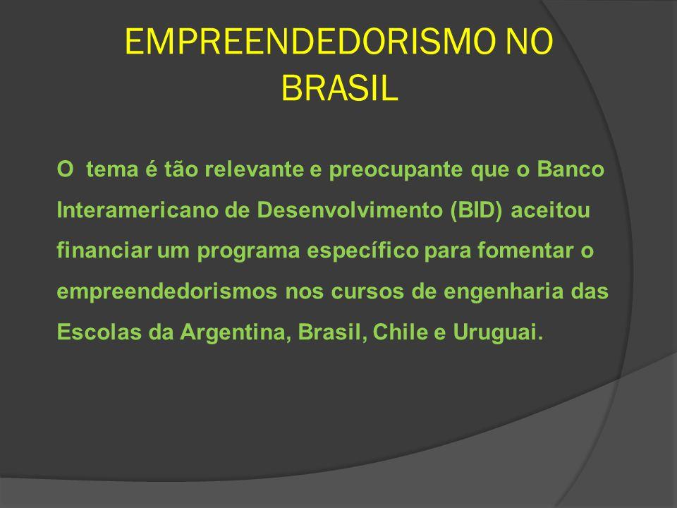 EMPREENDEDORISMO NO BRASIL O tema é tão relevante e preocupante que o Banco Interamericano de Desenvolvimento (BID) aceitou financiar um programa espe