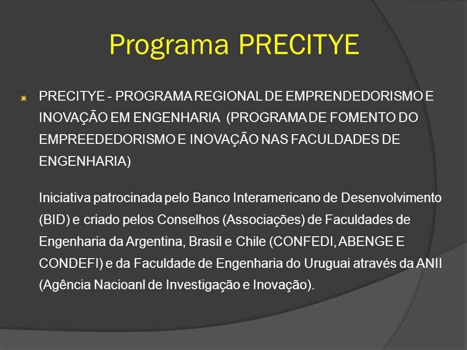 Programa PRECITYE PRECITYE - PROGRAMA REGIONAL DE EMPRENDEDORISMO E INOVAÇÃO EM ENGENHARIA (PROGRAMA DE FOMENTO DO EMPREEDEDORISMO E INOVAÇÃO NAS FACU