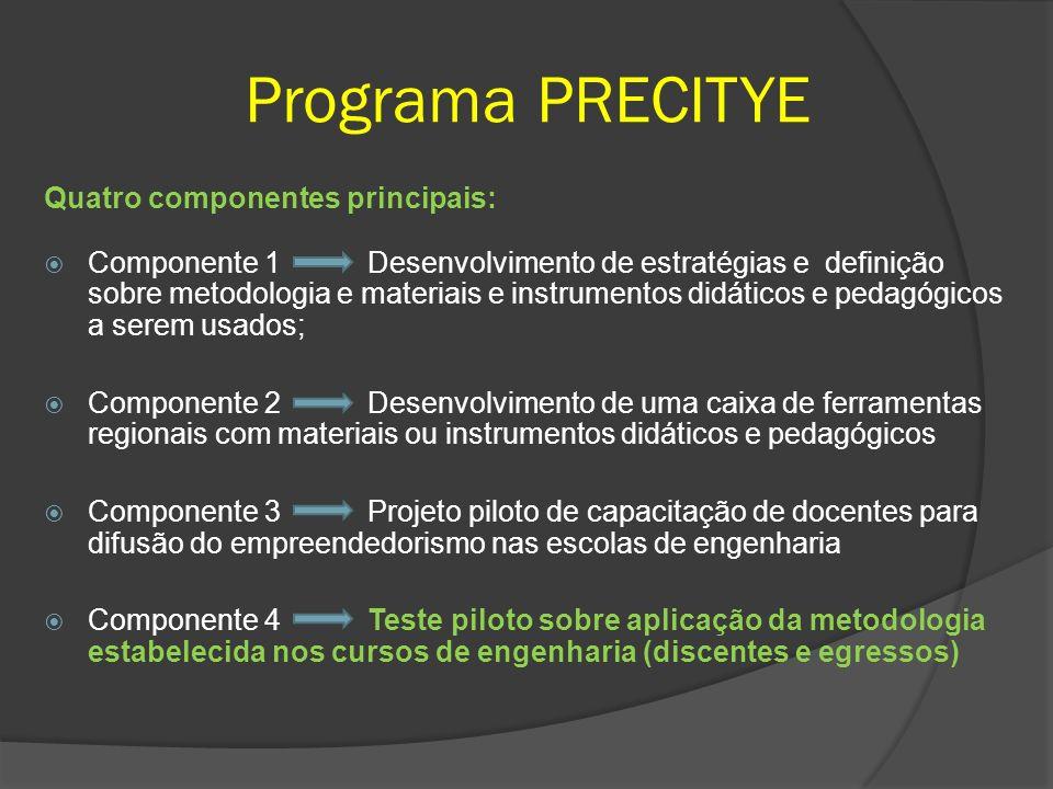 Programa PRECITYE Quatro componentes principais: Componente 1 Desenvolvimento de estratégias e definição sobre metodologia e materiais e instrumentos