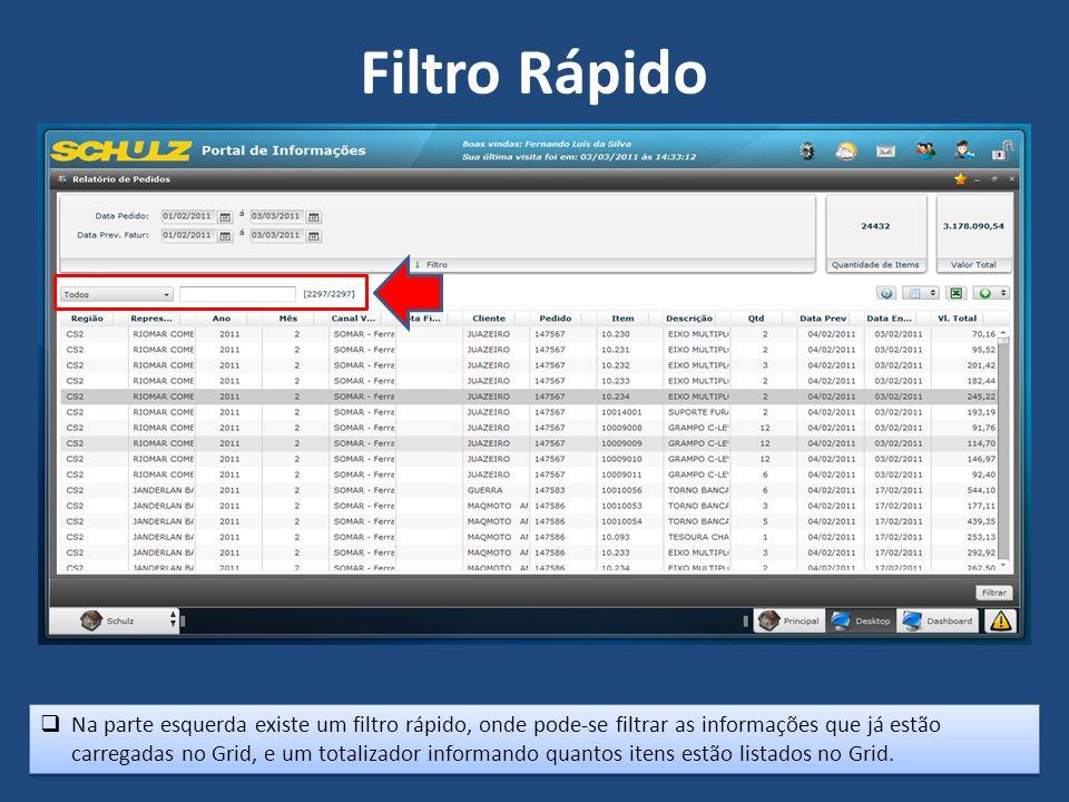 Na parte esquerda existe um filtro rápido, onde pode-se filtrar as informações que já estão carregadas no Grid, e um totalizador informando quantos itens estão listados no Grid.