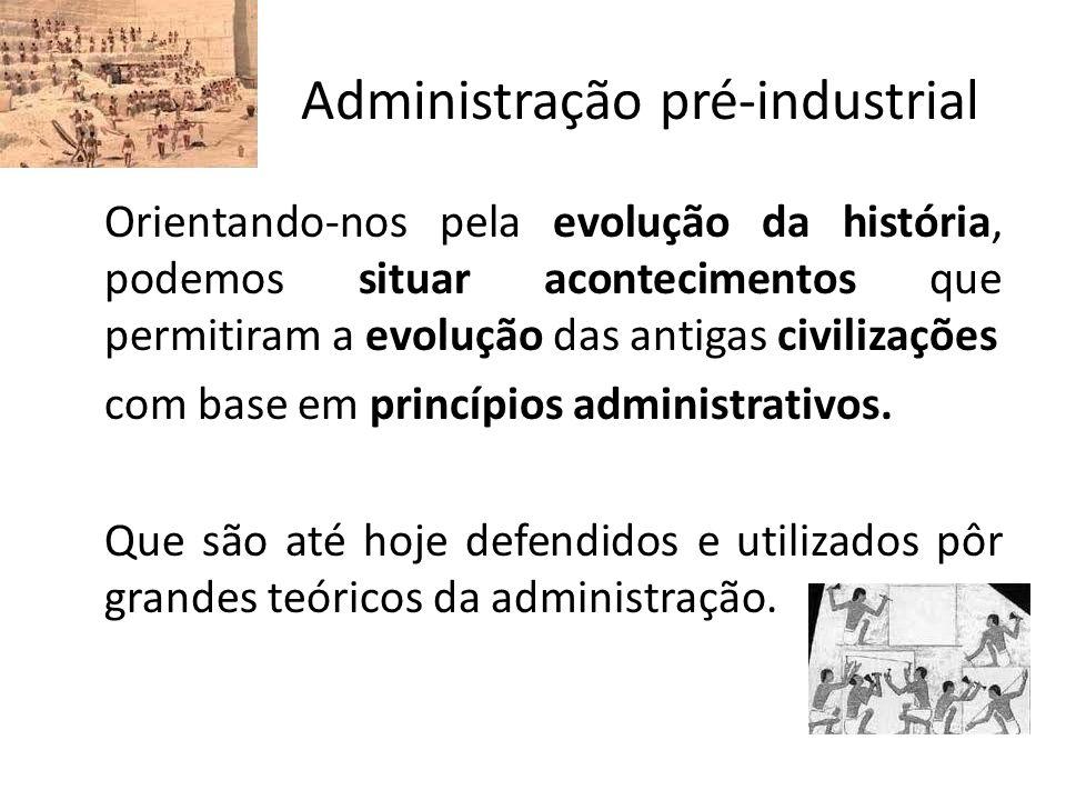 Administração pré-industrial Orientando-nos pela evolução da história, podemos situar acontecimentos que permitiram a evolução das antigas civilizaçõe