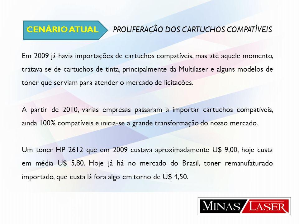 CENÁRIO ATUAL PROLIFERAÇÃO DOS CARTUCHOS COMPATÍVEIS Em 2009 já havia importações de cartuchos compatíveis, mas até aquele momento, tratava-se de cart