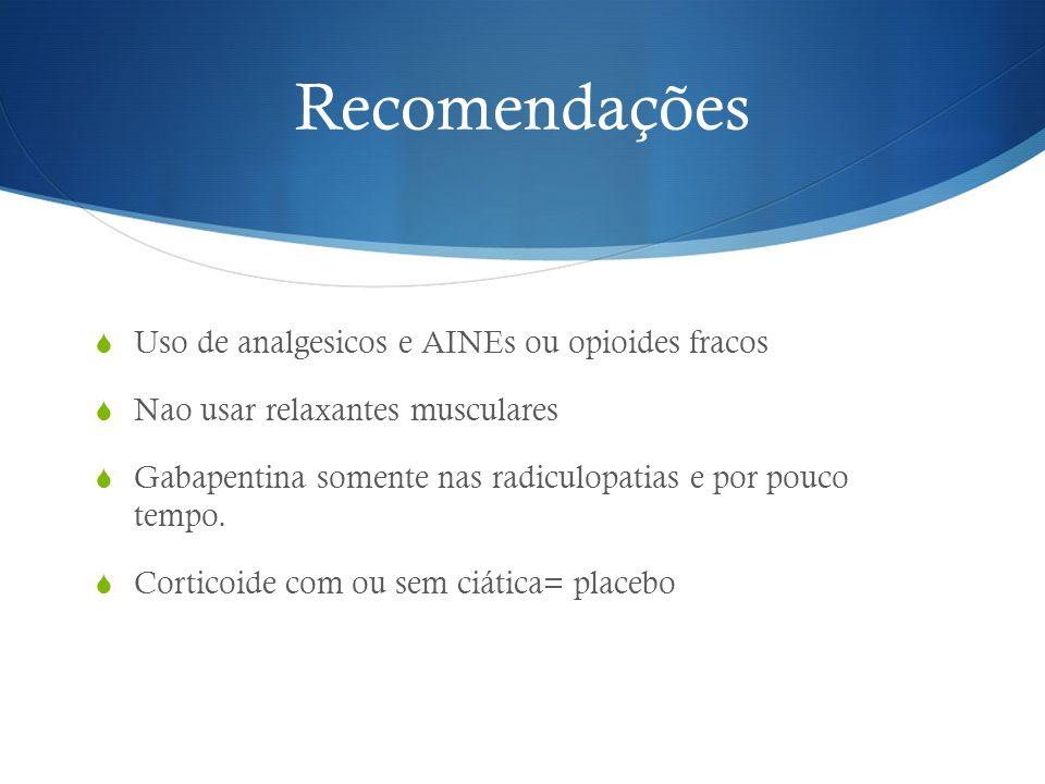 Recomendações Uso de analgesicos e AINEs ou opioides fracos Nao usar relaxantes musculares Gabapentina somente nas radiculopatias e por pouco tempo. C