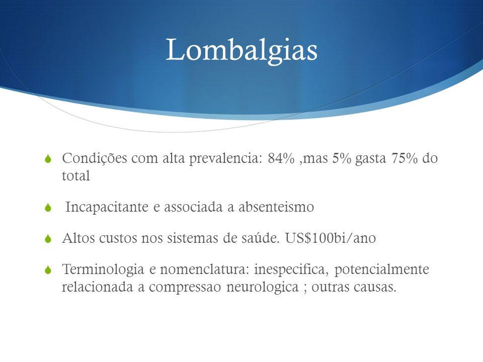 Lombalgias Condições com alta prevalencia: 84%,mas 5% gasta 75% do total Incapacitante e associada a absenteismo Altos custos nos sistemas de saúde. U