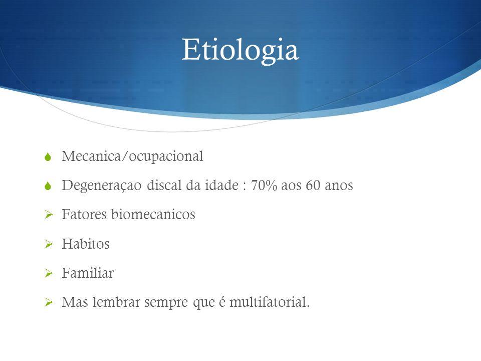 Etiologia Mecanica/ocupacional Degeneraçao discal da idade : 70% aos 60 anos Fatores biomecanicos Habitos Familiar Mas lembrar sempre que é multifator