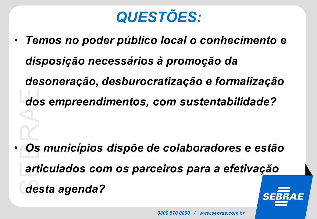 SEBRAE 0800 570 0800 / www.sebrae.com.br QUESTÕES: Temos no poder público local o conhecimento e disposição necessários à promoção da desoneração, des