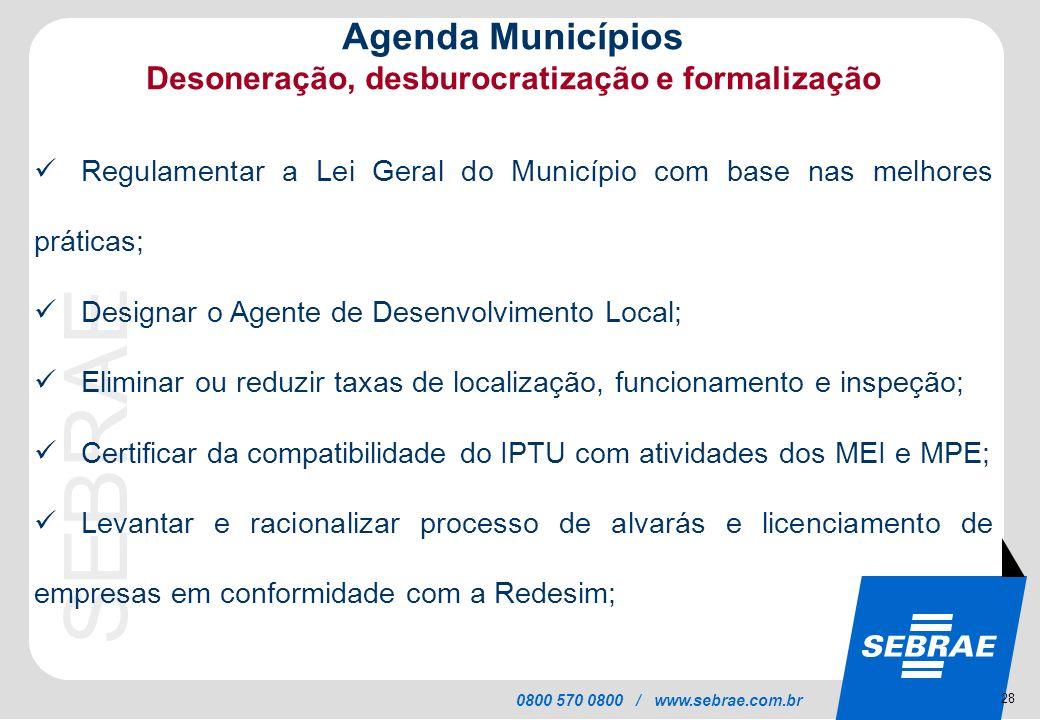 SEBRAE 0800 570 0800 / www.sebrae.com.br Agenda Municípios Desoneração, desburocratização e formalização Regulamentar a Lei Geral do Município com bas