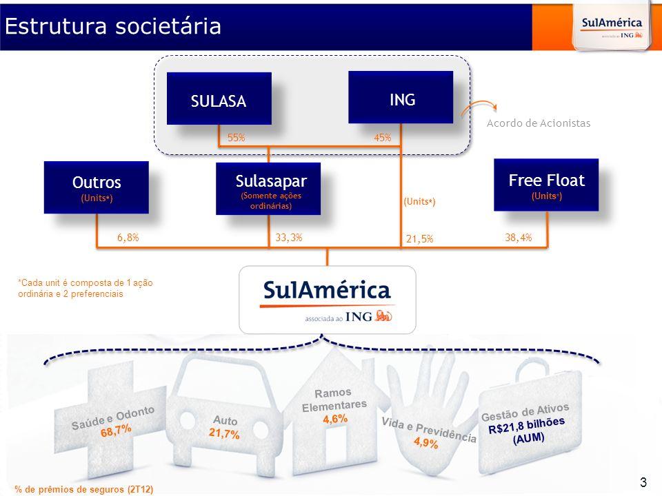 Material elaborado para utilização exclusiva nos cursos do IBGC. SULASA ING Gestão de Ativos R$21,8 bilhões (AUM) Vida e Previdência 4,9% Ramos Elemen