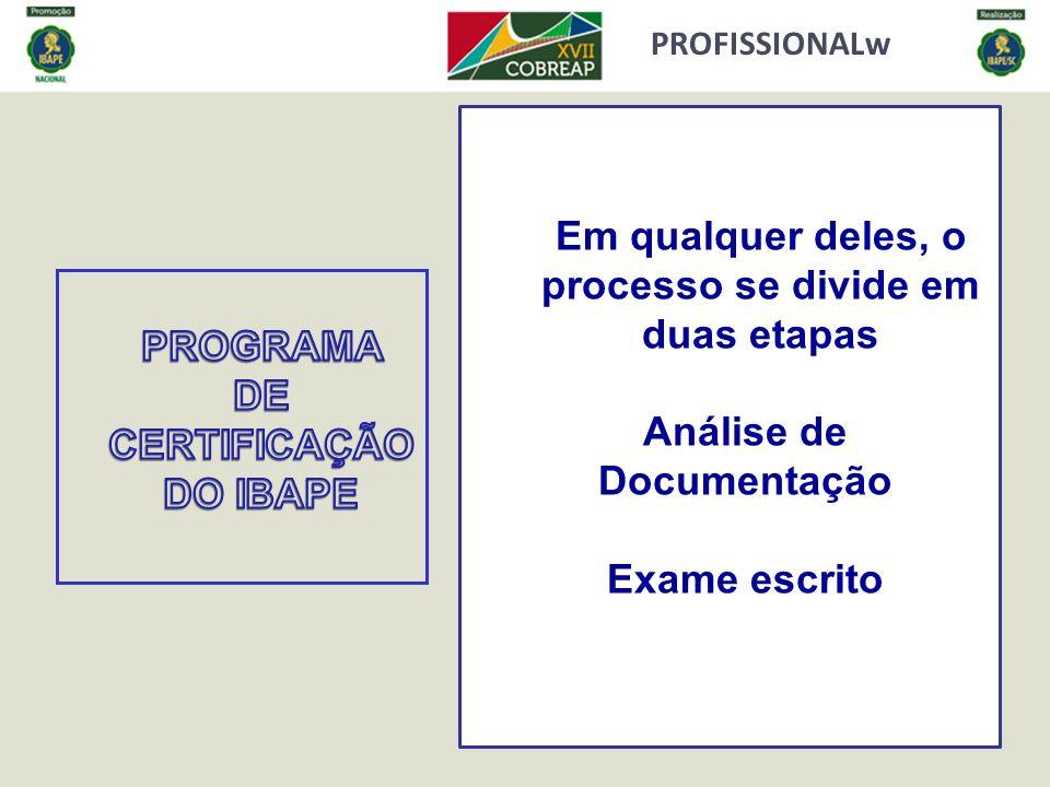 PROFISSIONALw Em qualquer deles, o processo se divide em duas etapas Análise de Documentação Exame escrito