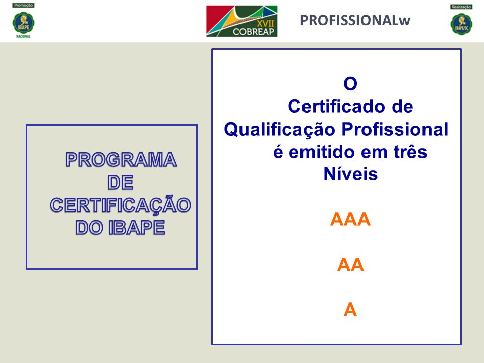 PROFISSIONALw O Certificado de Qualificação Profissional é emitido em três Níveis AAA AA A
