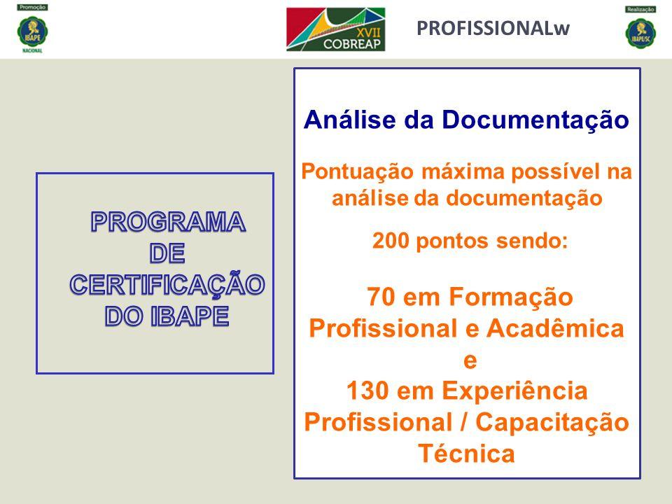 PROFISSIONALw Análise da Documentação Pontuação máxima possível na análise da documentação 200 pontos sendo: 70 em Formação Profissional e Acadêmica e