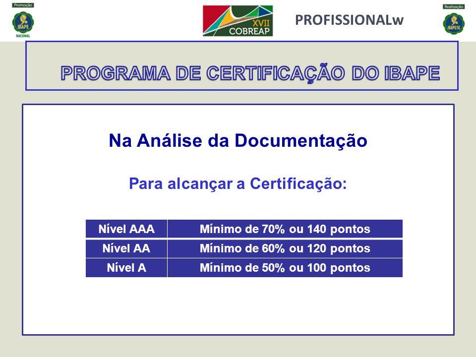 PROFISSIONALw Na Análise da Documentação Para alcançar a Certificação: Nível AAAMínimo de 70% ou 140 pontos Nível AAMínimo de 60% ou 120 pontos Nível