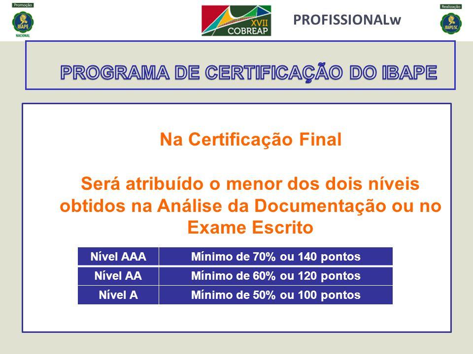 PROFISSIONALw Na Certificação Final Será atribuído o menor dos dois níveis obtidos na Análise da Documentação ou no Exame Escrito Nível AAAMínimo de 7