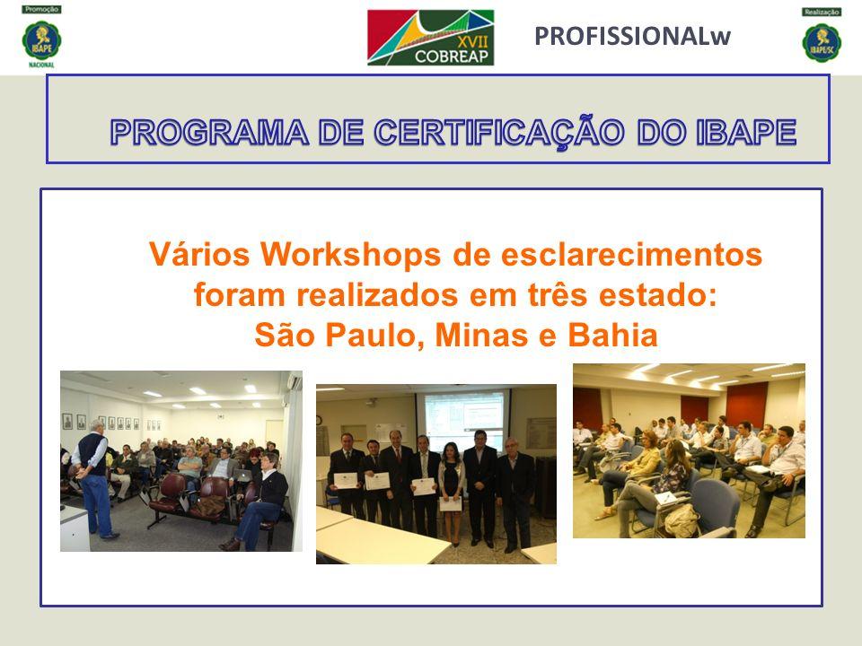 PROFISSIONALw Vários Workshops de esclarecimentos foram realizados em três estado: São Paulo, Minas e Bahia