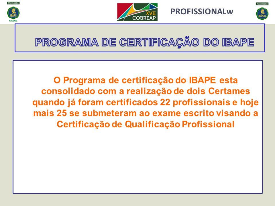 PROFISSIONALw O Programa de certificação do IBAPE esta consolidado com a realização de dois Certames quando já foram certificados 22 profissionais e h