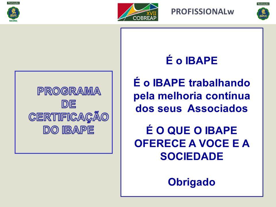 É o IBAPE É o IBAPE trabalhando pela melhoria contínua dos seus Associados É O QUE O IBAPE OFERECE A VOCE E A SOCIEDADE Obrigado