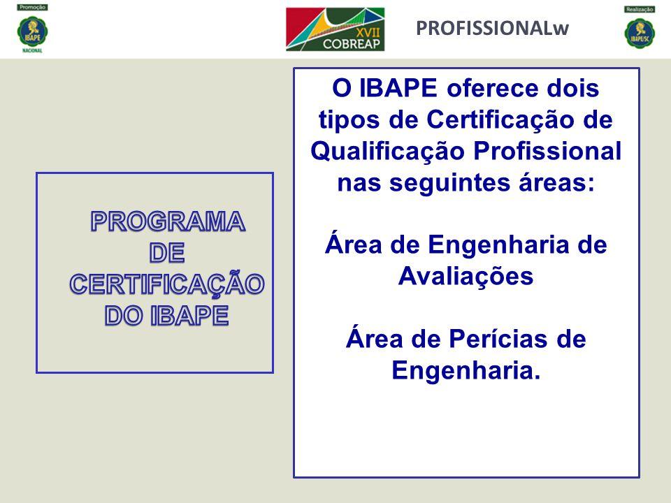 PROFISSIONALw O IBAPE oferece dois tipos de Certificação de Qualificação Profissional nas seguintes áreas: Área de Engenharia de Avaliações Área de Pe