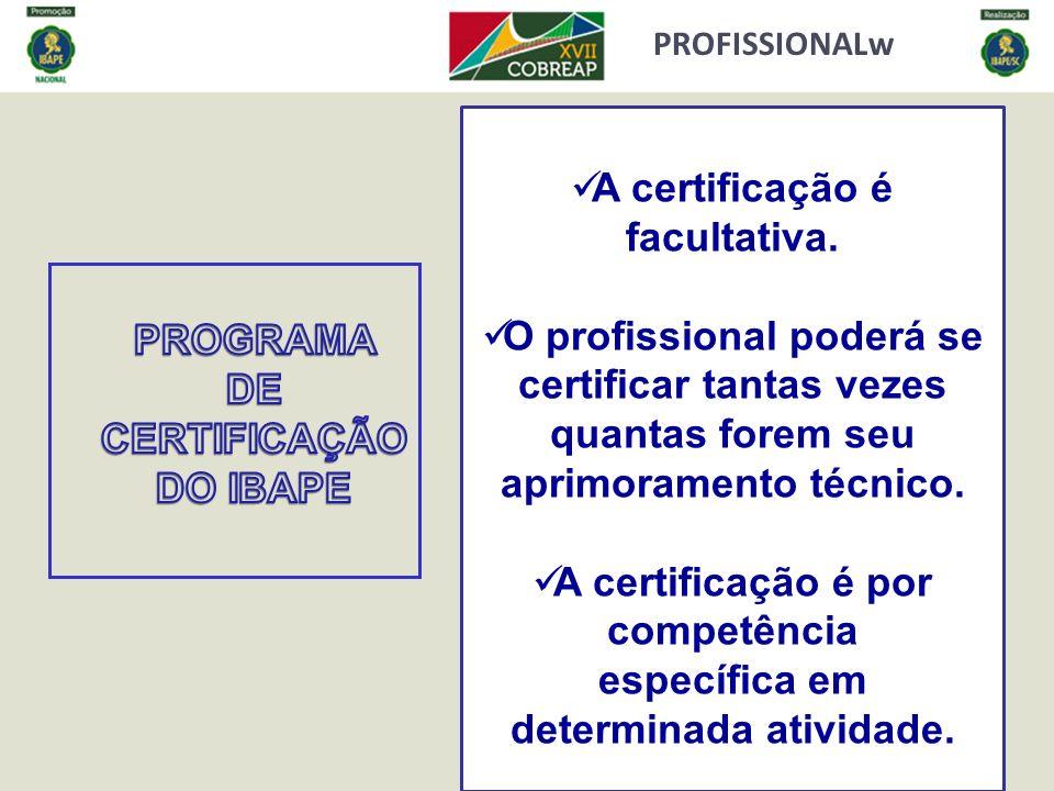 PROFISSIONALw A certificação é facultativa. O profissional poderá se certificar tantas vezes quantas forem seu aprimoramento técnico. A certificação é