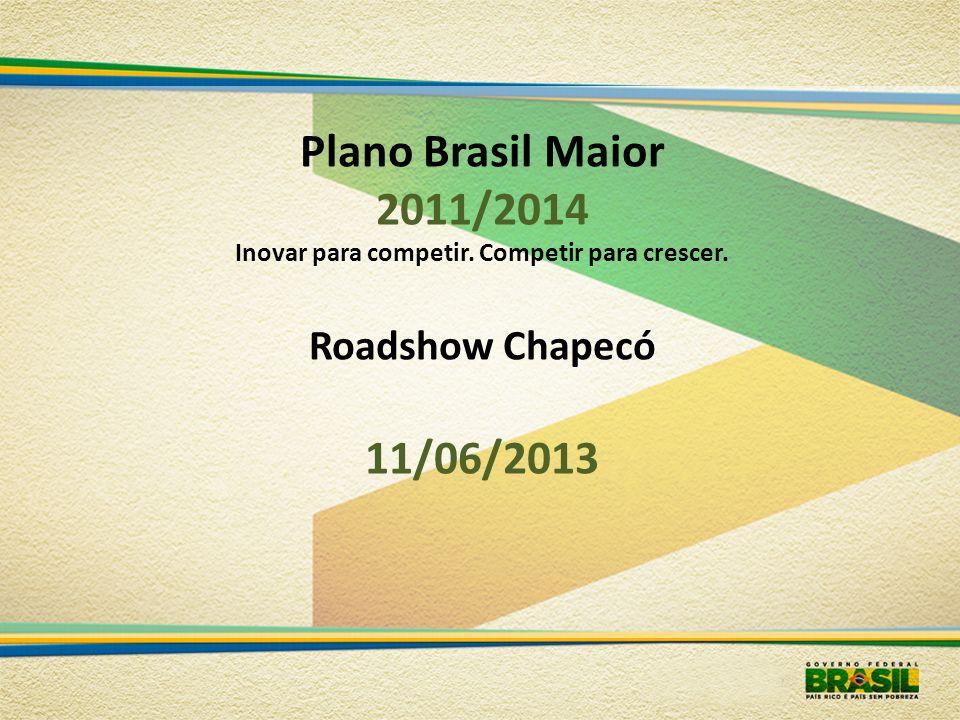 Plano Brasil Maior 2011/2014 Inovar para competir. Competir para crescer. Roadshow Chapecó 11/06/2013