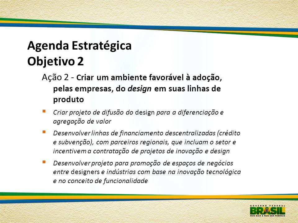 Agenda Estratégica Objetivo 2 Ação 2 - Criar um ambiente favorável à adoção, pelas empresas, do design em suas linhas de produto Criar projeto de difu