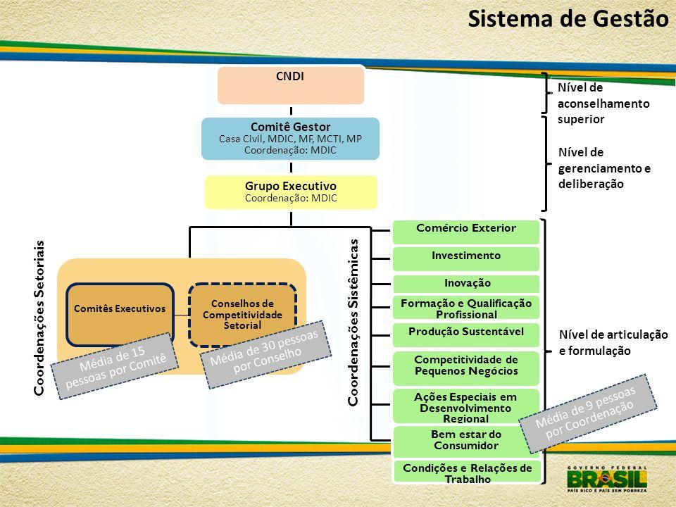 Comitê Gestor Casa Civil, MDIC, MF, MCTI, MP Coordenação: MDIC Grupo Executivo Coordenação: MDIC CNDI Nível de gerenciamento e deliberação Comércio Ex