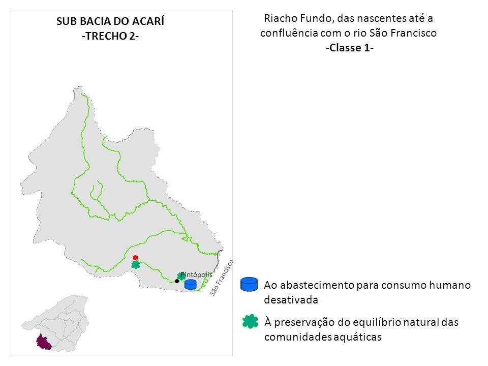 Riacho Fundo, das nascentes até a confluência com o rio São Francisco -Classe 1- Pintópolis À preservação do equilíbrio natural das comunidades aquáti