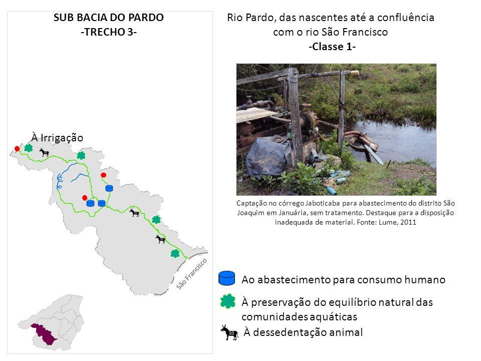 Rio Pardo, das nascentes até a confluência com o rio São Francisco -Classe 1- À preservação do equilíbrio natural das comunidades aquáticas À desseden