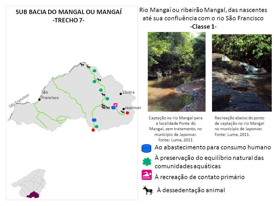 Rio Mangaí ou ribeirão Mangal, das nascentes até sua confluência com o rio São Francisco -Classe 1- São Francisco Japonvar Lontra SUB BACIA DO MANGAL