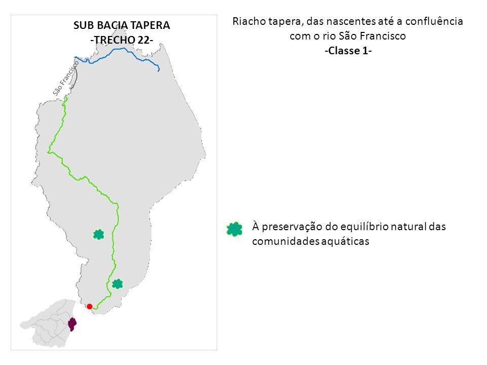 Riacho tapera, das nascentes até a confluência com o rio São Francisco -Classe 1- À preservação do equilíbrio natural das comunidades aquáticas SUB BA